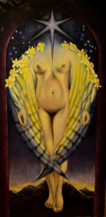 """Eastern Luminary"" Oil on panel, 60""x30"", 2014, K Lenore Siner (part of a collaboration in progress between K Lenore Siner and Natan Alexandar"