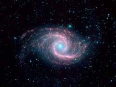 Figure 1. Image of Seyfert Galaxy NGC 1566, a spiral galaxy whose luminous core is intensely emitting cosmic ray radiation. (Courtesy of NASA/JPL-Caltech/R. Kennicutt (University of Arizona) and the SINGS Team)