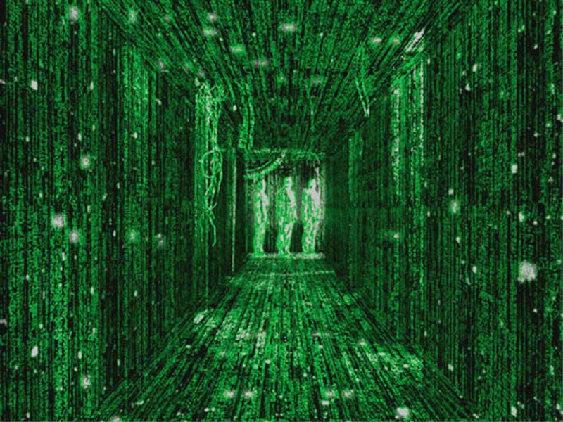 A scene from the movie Matrix portraying the insubstantiality of the physically perceived world.