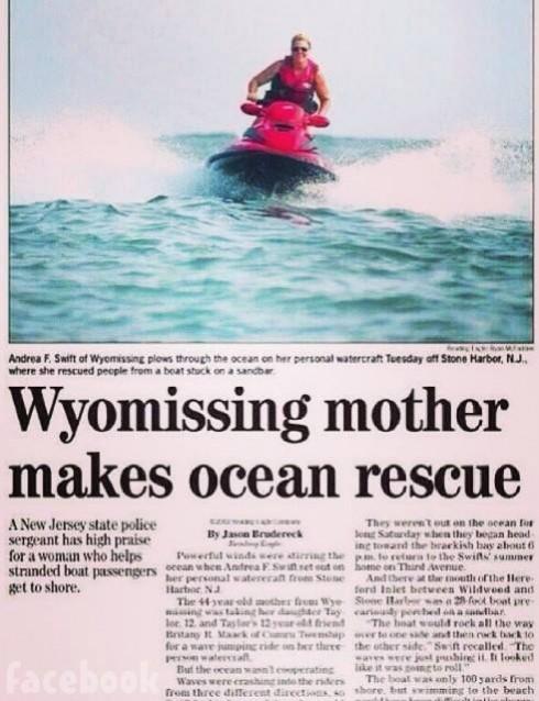 Taylor Swift's mom Andrea Swift jet ski rescue newspaper article Facebook