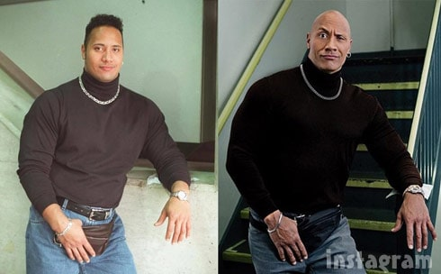 The Rock fanny pack then and now side-by-side photos