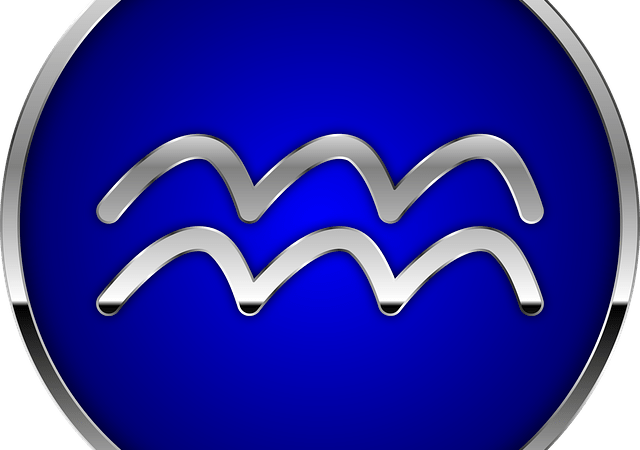 Aquarius glyph on blue background
