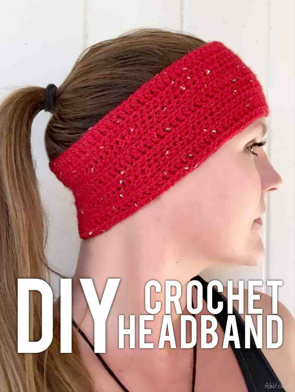 side view of Sparkle motion headband free crochet pattern
