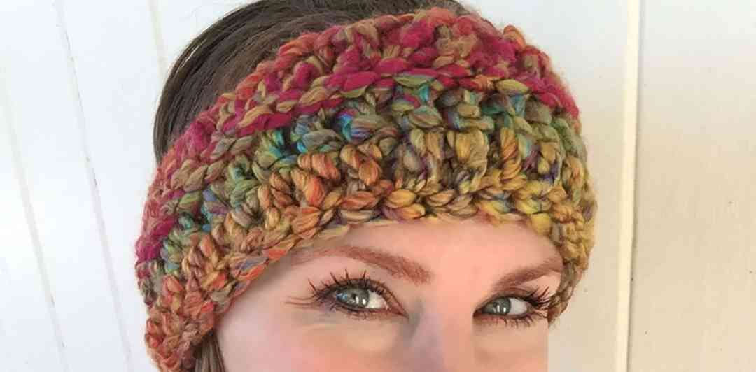 Funky Chunky Rainbow Skies Headband Free Crochet Pattern The