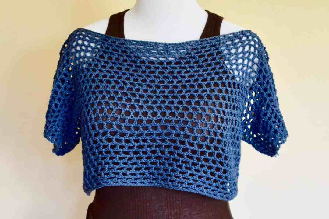 Honeycomb Mesh Cropped T Easy Free Crochet Pattern Stardust Gold