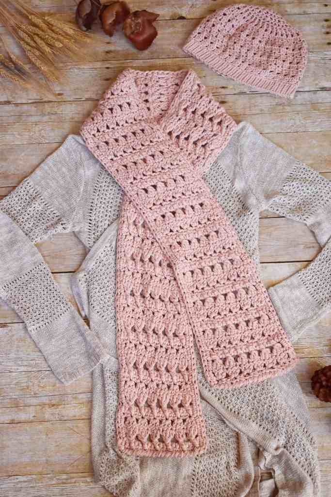 Winter Blush Beanie Scarf Easy Free Crochet Pattern Perfect