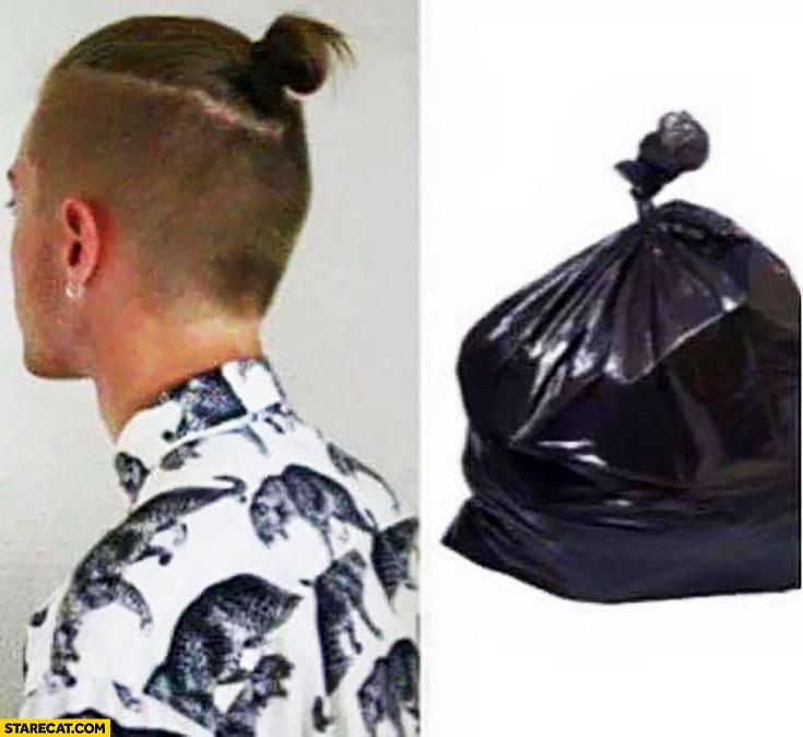 Man Bun Looking Like Garbage Bag Comparison Starecat Com