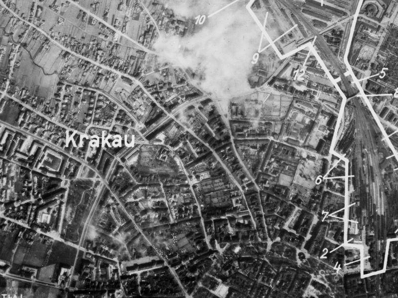 Zdjęcie lotnicze Krakowa z 1944r.