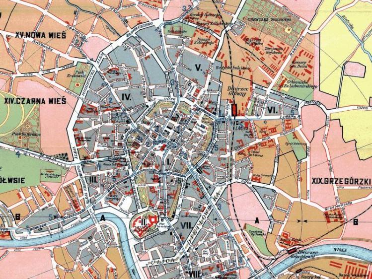 Plan Miasta Krakowa Z 1920r Nakladka Na Wspolczesne Mapy