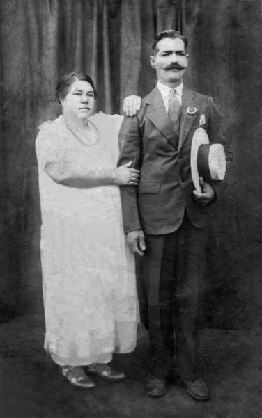 "c.1930 My great-great grandparents, on my mom's side, Domingo Viera and Margarita Segui Martinez. They wrote: ""With love, to my brother, sister-in-law, and nephews, from Margarita Segi Martinez y Domingo Viera."""