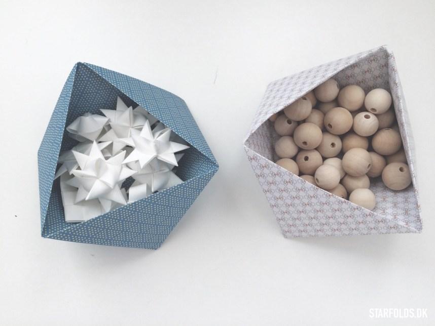 Geometriske æsker i papir til perler og nips