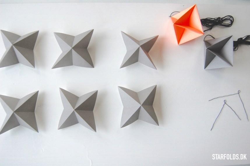 Geometriske ophæng foldes af disse 6 papirdele
