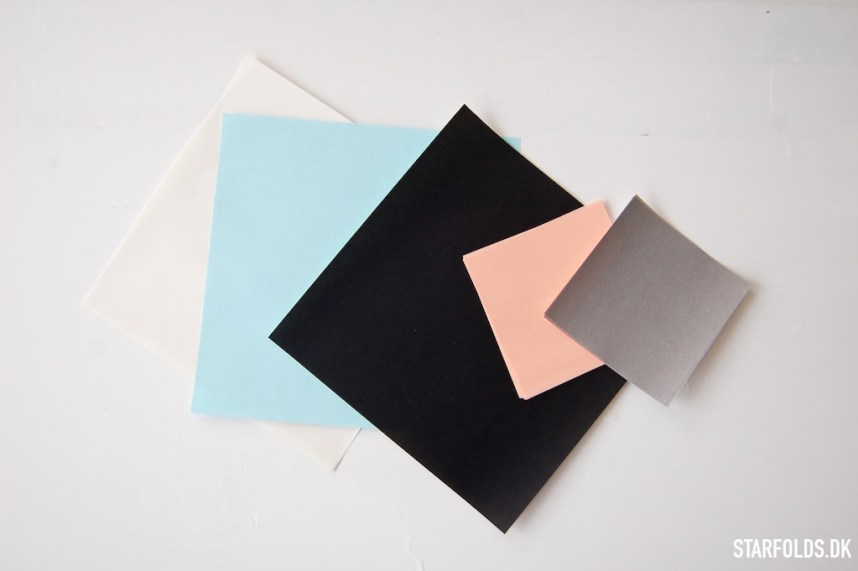 Geometriske ophæng - Papir i farverne sort, tyrkis, koral og grå