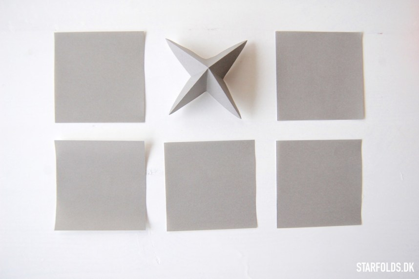 Geometriske ophæng foldes af 6 stykker kvadratisk papir