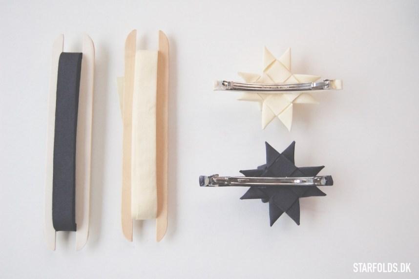 DIY Flettet julestjerne i tekstilbånd limet på hårspænde