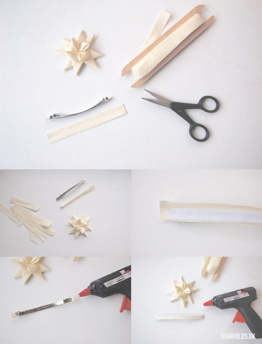 DIY Flettet julestjerne sæt stjernen på hårspændet trin 8