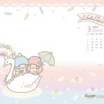 受保護的內容: Little Twin Stars Wallpaper 2014 三月桌布 台灣官方天鵝船版