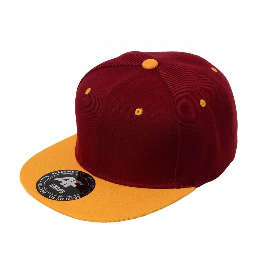 Custom 2-Tone Classic Snapback Flat Bill Hat (Embroidered with Logo) - Burgundy/Gold - AF1013T