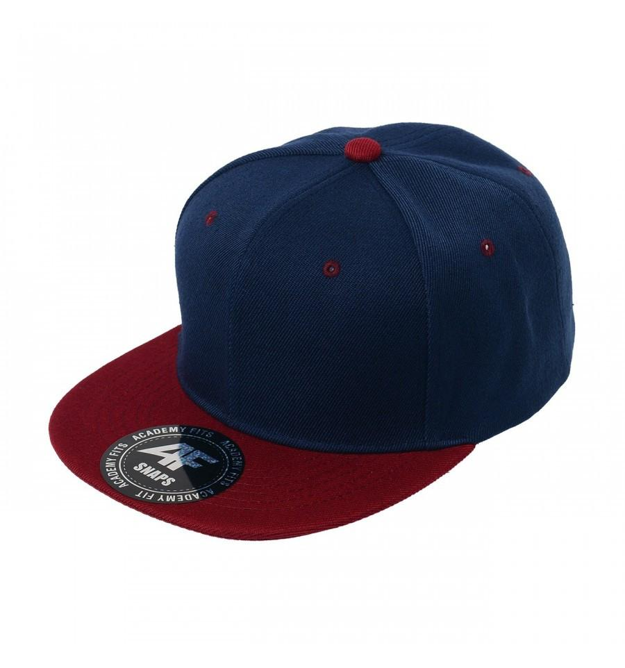 Custom 2-Tone Classic Snapback Flat Bill Hat (Embroidered with Logo) - Navy/Burgundy - AF1013T