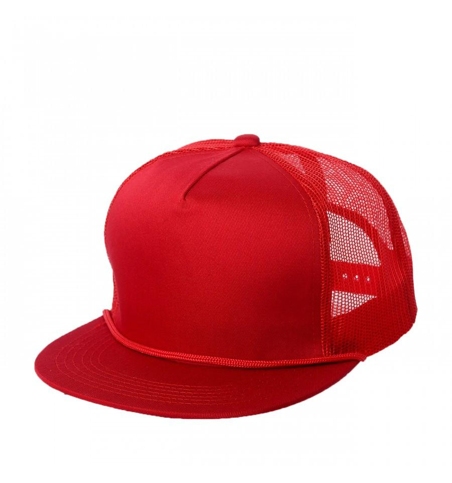 Custom Trucker Mesh 5 Panel Flat Bill Hat (Embroidered with Logo) - Red - AF2071