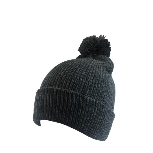 Custom Knit Beanies with Pom Pom Soft (Embroidered with Logo) - Charcoal - AF6013P