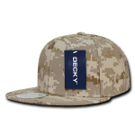 Custom Digital Camo Snapback Flat Bill Hat (Embroidered with Logo) - Desert Digital Camo - Decky 1047