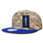 Custom Digital Camo Snapback Flat Bill Hat (Embroidered with Logo) - Royal/Desert/Desert - Decky 1047