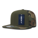 Custom Camo Snapback Flat Bill Hat (Embroidered with Logo) - Woodland/Olive/Woodland - Decky 1049