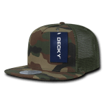 Custom 5 Panel Flat Bill Trucker Flat Bill Hat (Embroidered with Logo) - Woodland Camo - Decky 1063