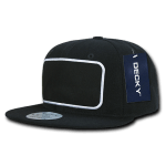 Custom Patch Snapback Flat Bill Hat (Embroidered with Logo) - Black - Decky 1096