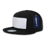 Custom Patch Snapback Flat Bill Hat (Embroidered with Logo) - Black/White - Decky 1096