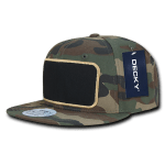 Custom Patch Snapback Flat Bill Hat (Embroidered with Logo) - Woodland Camo - Decky 1096