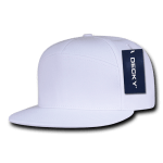 Custom 7 Panel Snapback Flat Bill Hat (Embroidered with Logo) - White - Decky 1098
