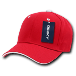 Custom Sandwich Bill Baseball Hat (Embroidered with Logo) - Red/White - Decky 2003