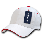 Custom Sandwich Bill Baseball Hat (Embroidered with Logo) - White/Red - Decky 2003