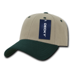 Custom Low Crown Structured Baseball Hat (Embroidered with Logo) - Khaki/Hunter - Decky 206