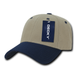 Custom Low Crown Structured Baseball Hat (Embroidered with Logo) - Khaki/Navy - Decky 206