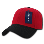 Custom Low Crown Structured Baseball Hat (Embroidered with Logo) - Red/Black - Decky 206