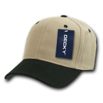 Custom Curve Bill Deluxe Baseball Hat (Embroidered with Logo) - Khaki/Black - Decky 207