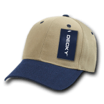 Custom Curve Bill Deluxe Baseball Hat (Embroidered with Logo) - Khaki/Navy - Decky 207