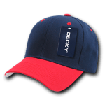 Custom Curve Bill Deluxe Baseball Hat (Embroidered with Logo) - Navy/Red - Decky 207