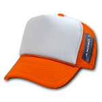 Custom Two-Tone Trucker Foam Mesh Hat (Embroidered with Logo) - Orange - Decky 210