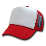 Custom Two-Tone Trucker Foam Mesh Hat (Embroidered with Logo) - Red - Decky 210