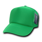 Custom Solid Color Trucker Mesh Foam Hat (Embroidered with Logo) - Kelly - Decky 211