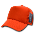 Custom Solid Color Trucker Mesh Foam Hat (Embroidered with Logo) - Orange - Decky 211