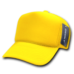 Custom Solid Color Trucker Mesh Foam Hat (Embroidered with Logo) - Yellow - Decky 211