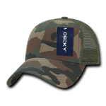 Custom Camo Trucker Baseball Cap (Embroidered with Logo) - Woodland Camo - Decky 218