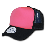 Custom Two-Tone Neon Trucker Foam Mesh Hat (Embroidered with Logo) - Neon Pink - Decky 220