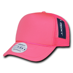 Custom Solid Color Neon Trucker Foam Mesh Hat (Embroidered with Logo) - Neon Pink - Decky 221