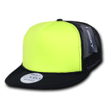 Custom Flat Bill Neon Trucker Foam Mesh Hat (Embroidered with Logo) - Black/Neon Yellow - Decky 222